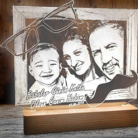Babalar Günü Aydınlatma Lambası Fotoğraf Çerçevesi - Thumbnail