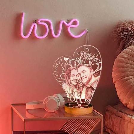 - Kişiye Özel Resimli Kalp Aydınlatma Lambası