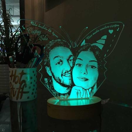 - Kişiye Özel Resimli Kelebek Figürlü Aydınlatma Lambası