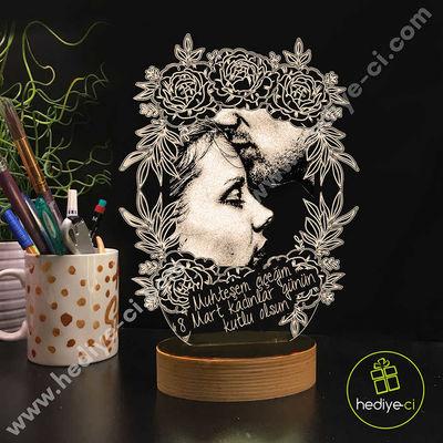 Aşk Bahçesi Kişiye Özel 3D Lamba