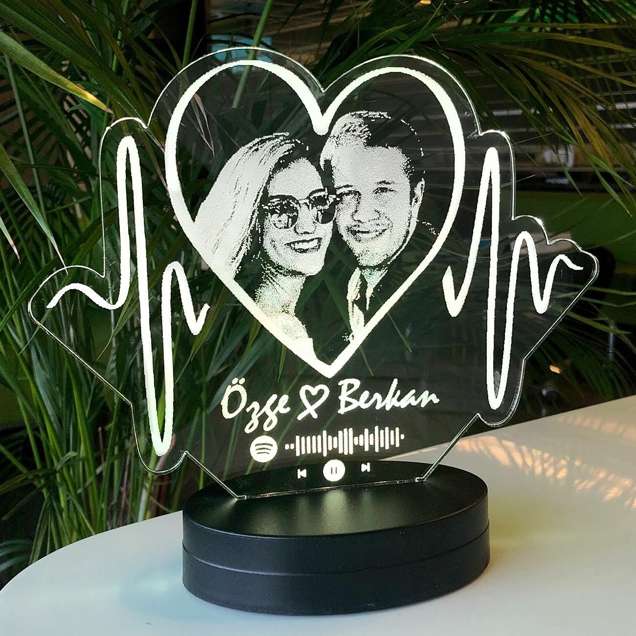 - Aşkın Ritmi Kişiye Özel Resimli 3D Led Lamba