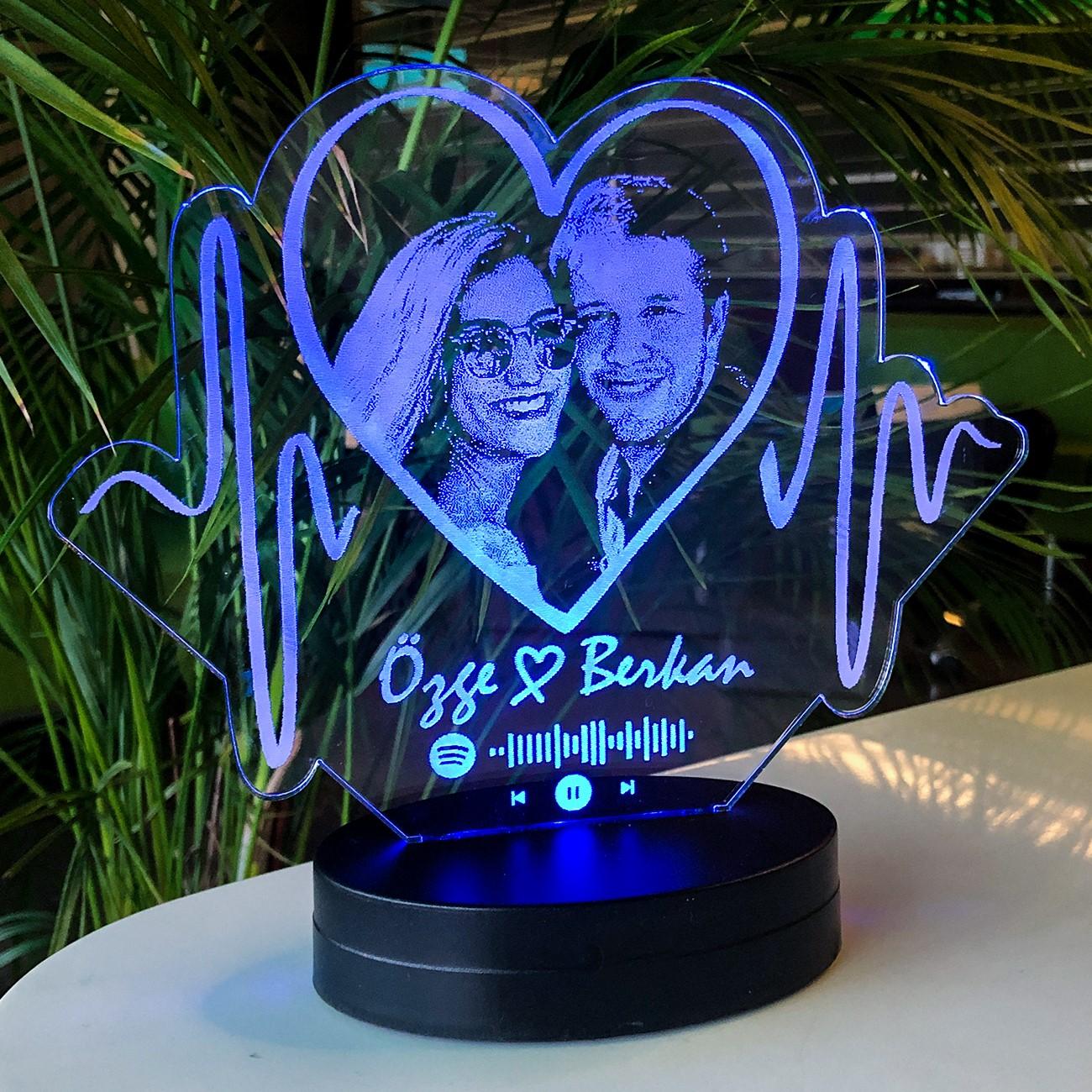 Aşkın Ritmi Kişiye Özel Resimli 3D Led Lamba - Thumbnail