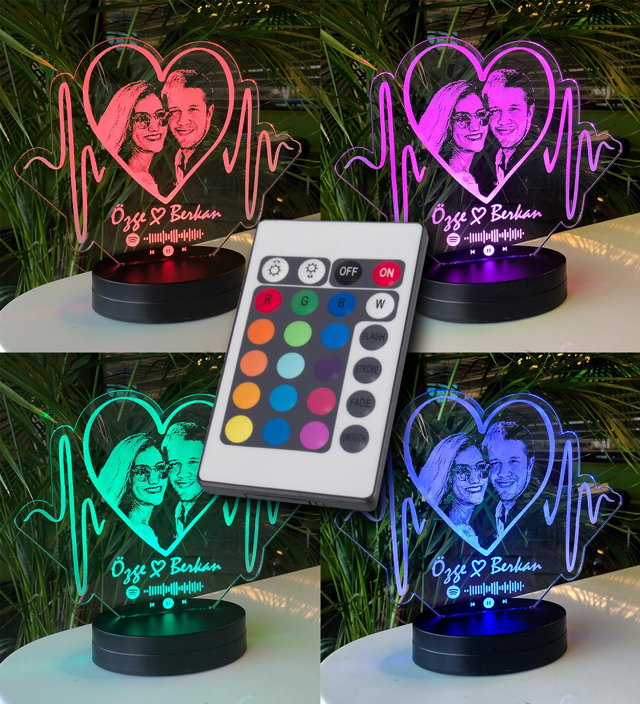 Aşkın Ritmi Kişiye Özel Resimli 3D Led Lamba