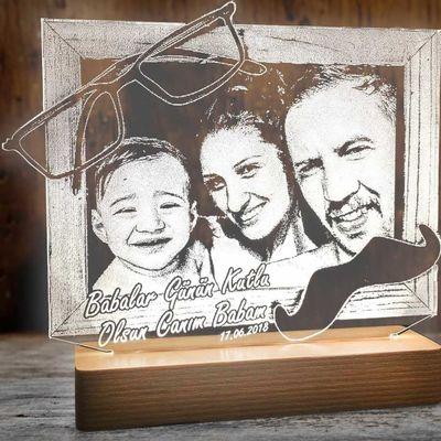 Babalar Günü Aydınlatma Lambası Fotoğraf Çerçevesi