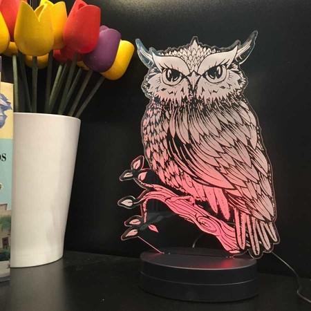 - Baykuş Figürlü 3D Lamba