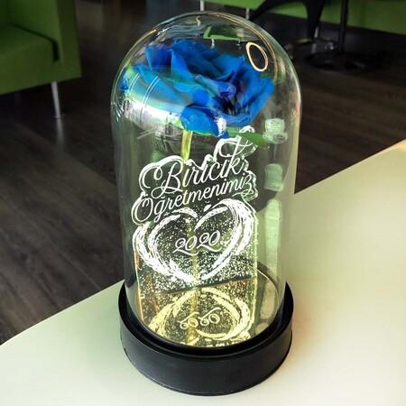 - Biricik Öğretmenim Cam Fanus Kişiye Özel Yazılı Lamba Mavi Gül 21 cm