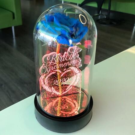 Biricik Öğretmenim Cam Fanus Kişiye Özel Yazılı Lamba Mavi Gül 21 cm - Thumbnail