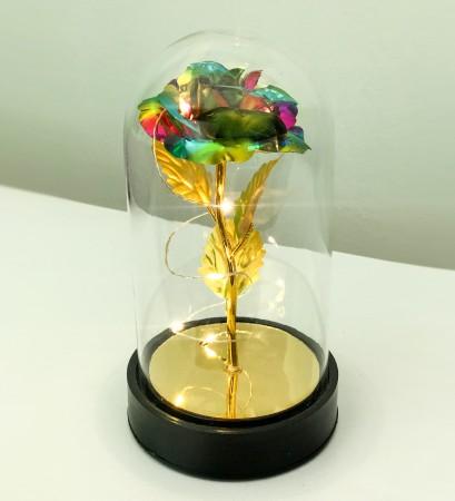 - Cam Fanus Renkli Gold Gül Siyah Plastik Tabanlı Lamba