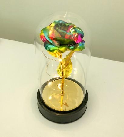 Cam Fanus Renkli Gold Gül Siyah Plastik Tabanlı Lamba - Thumbnail