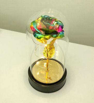 Cam Fanus Renkli Gold Gül Siyah Plastik Tabanlı Lamba