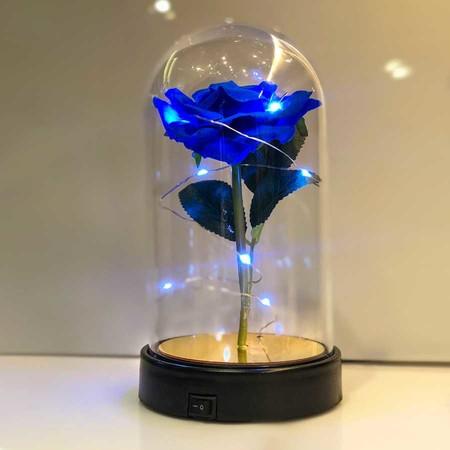 - Cam Fanus Mavi Gül Siyah Plastik Tabanlı Lamba