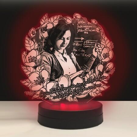 - Çiçekli Oval Kişiye Özel 3D Lamba