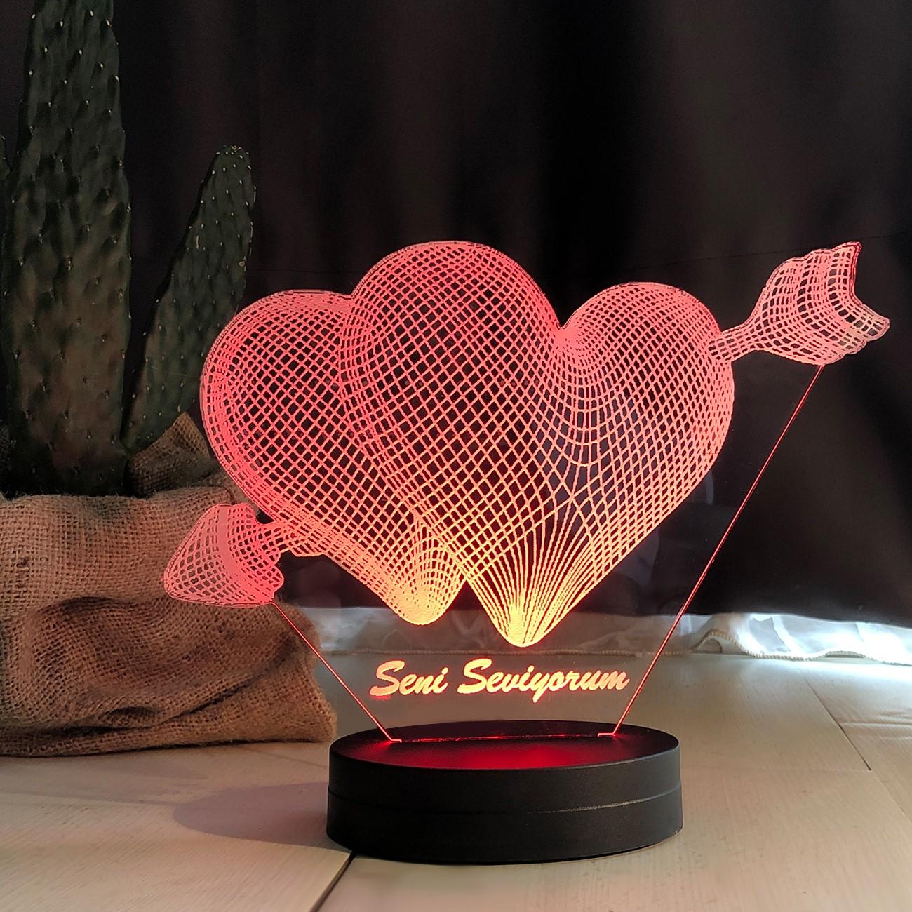 - Çift Kalpli Modelli Led Lamba