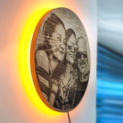 Güneş Tutulması Kişiye Özel Resimli Ahşap Işıklı Tablo