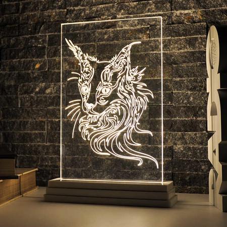 - Dikdörtgen Kedi Desenli Aydınlatma Lambası