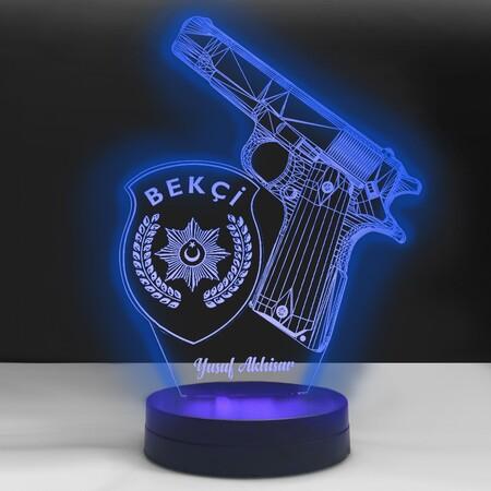- Kişiye Özel 3D Bekçi Amblemli Led Lamba