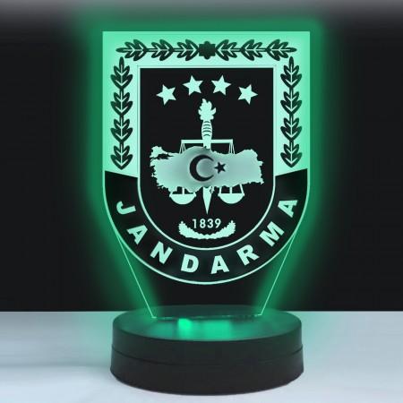 - Kişiye Özel 3D Jandarma Logolu Led Lamba