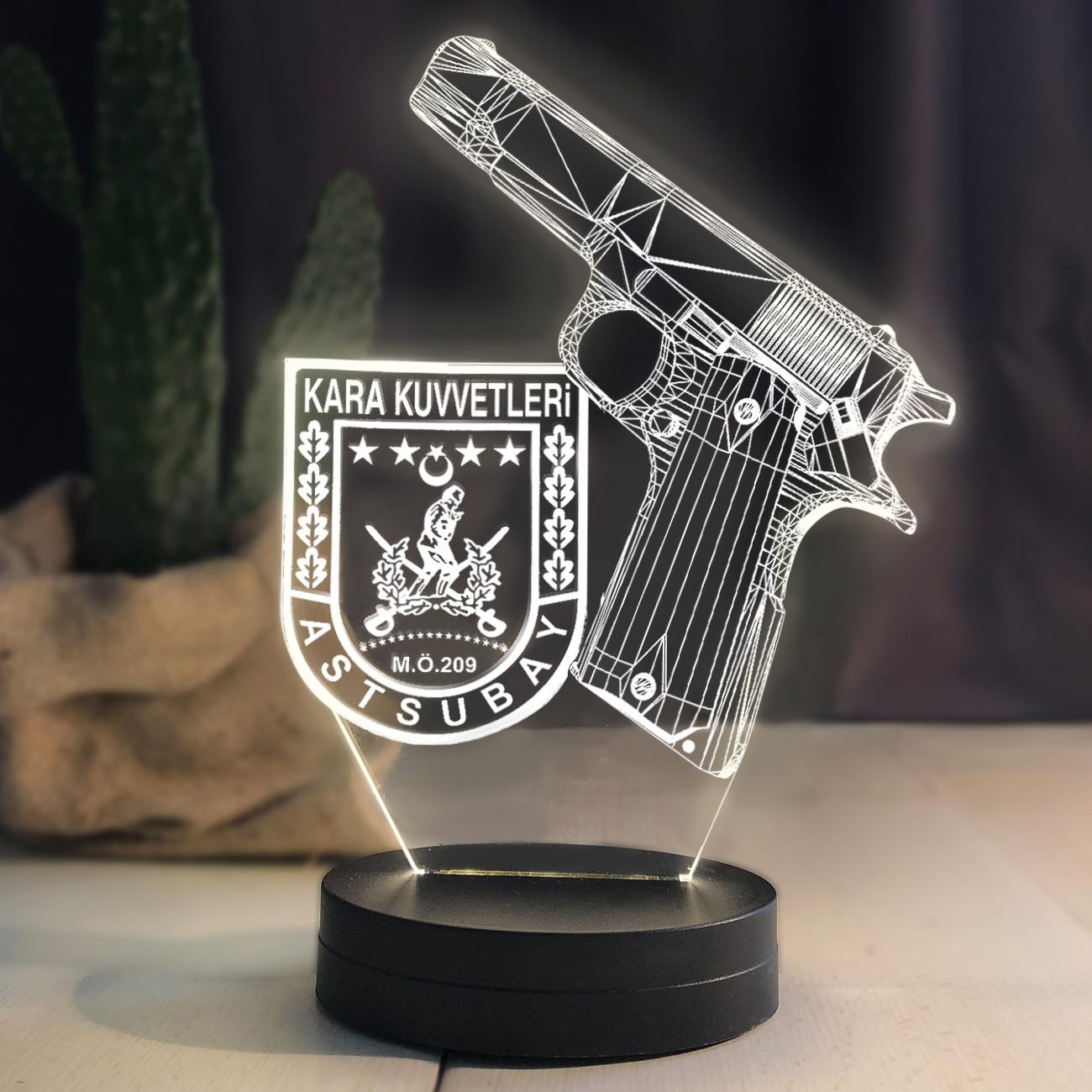- Kişiye Özel 3D Kara Kuvvetleri Logolu Led Lamba