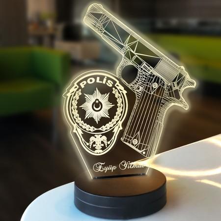 - Kişiye Özel 3D Polis Logolu Led Lamba