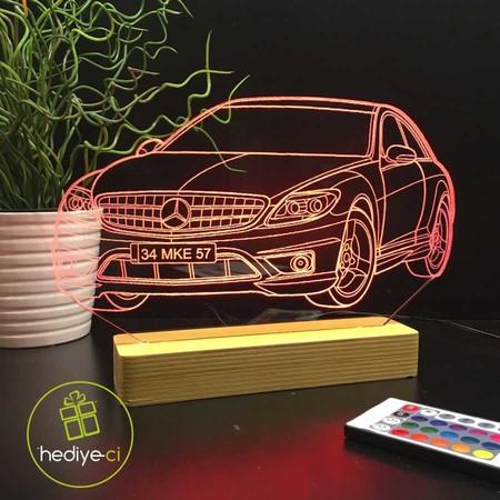 - Kişiye Özel Çizgisel Araba Modelli Led 3D Lamba