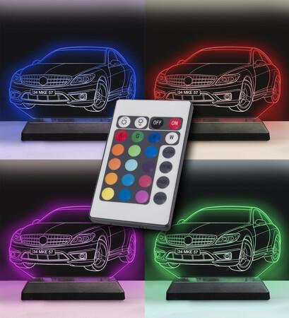 Kişiye Özel Çizgisel Araba Modelli Led 3D Lamba - Thumbnail