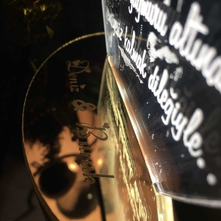 Kişiye Özel Çizgisel Balonlu Oval 3D Led Lamba - Thumbnail