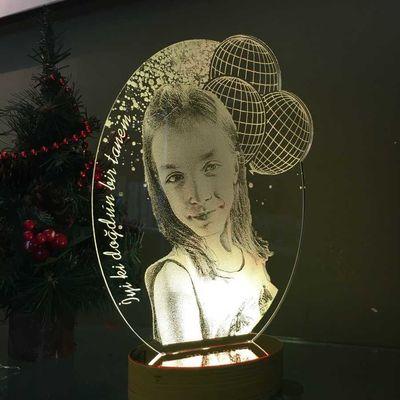 Kişiye Özel Çizgisel Balonlu Oval 3D Led Lamba