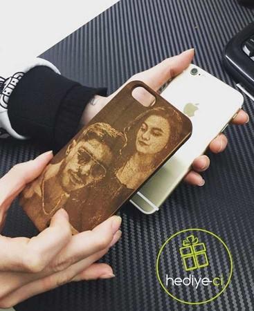 Kişiye Özel Resimli Ahşap Telefon Kabı - Thumbnail
