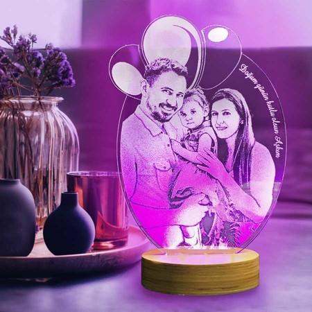 - Kişiye Özel Resimli Balonlu Oval 3D Lamba