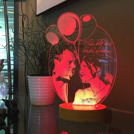 Kişiye Özel Resimli Balonlu Oval 3D Lamba - Thumbnail