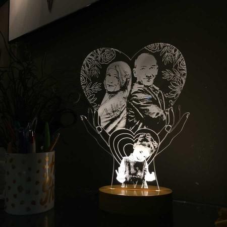 Kişiye Özel Resimli El Figürlü Kalp Led Lamba - Thumbnail
