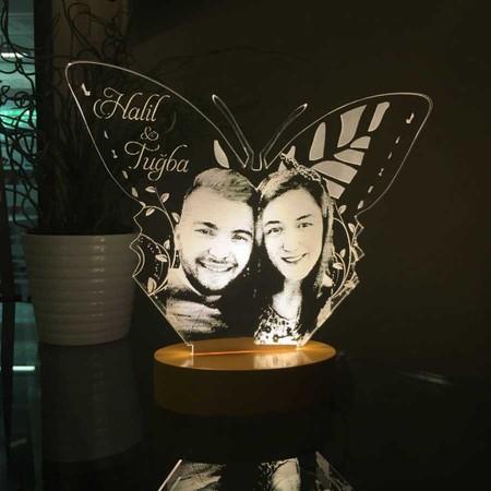Kişiye Özel Resimli Kelebek Figürlü Led Lamba - Thumbnail