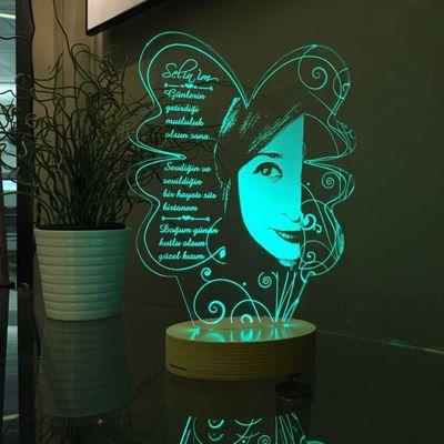 Kişiye Özel Resimli Yonca Modelli Aydınlatma Lambası