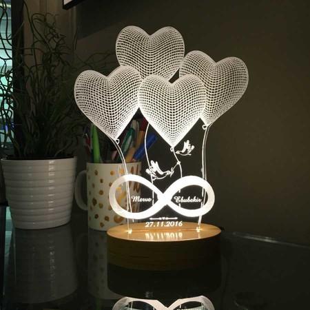 - Kişiye Özel Yazılı 4 Kalp Modelli Led Lamba