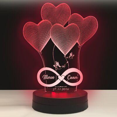 Kişiye Özel Yazılı 4 Kalp Modelli Led Lamba