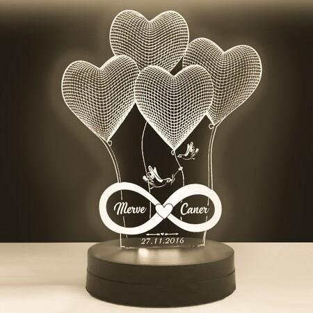 Kişiye Özel Yazılı 4 Kalp Modelli Led Lamba - Thumbnail