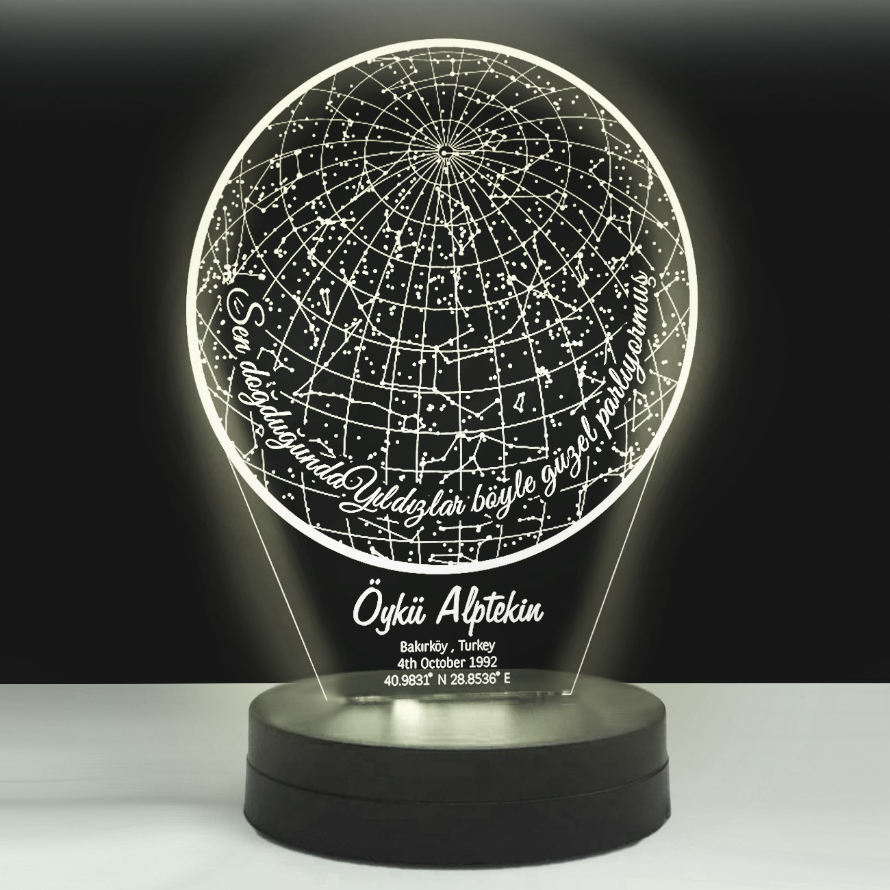 - Kişiye Özel Yıldız Haritası Led Lamba