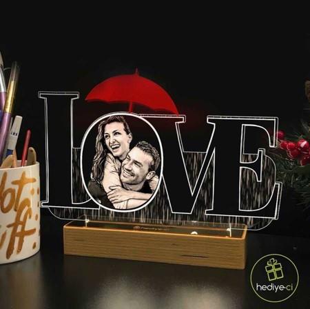 - Love Kesim İçine Kişiye Özel Resimli 3D Lamba