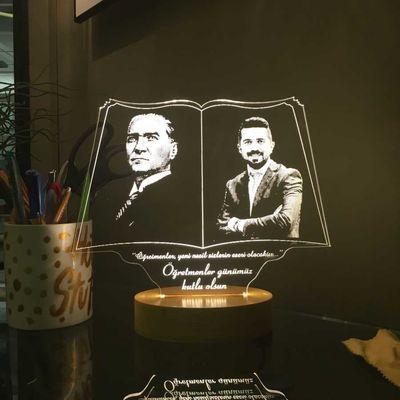 Öğretmen ve Atatürk Resimli Aydınlatma Lambası