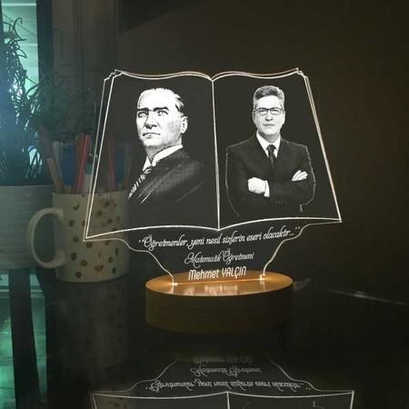 Öğretmen ve Atatürk Resimli Aydınlatma Lambası - Thumbnail