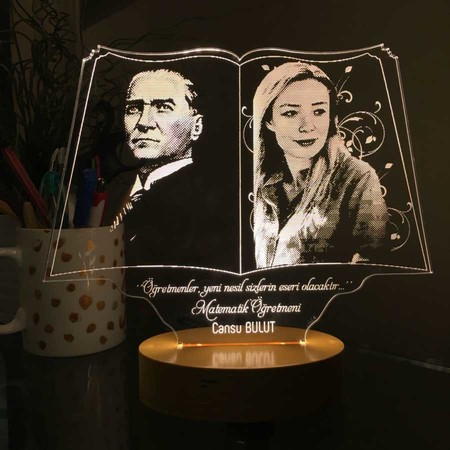 - Öğretmen ve Atatürk Resimli Kitap Led Lamba