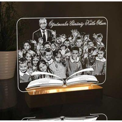 Öğretmen Fotoğraflı Kitap Modelli Led Lamba