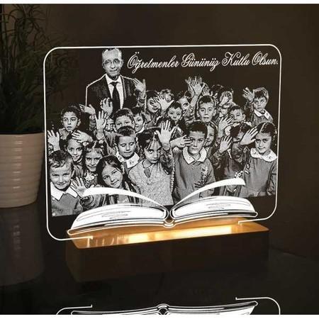 - Öğretmen Fotoğraflı Kitap Modelli Led Lamba