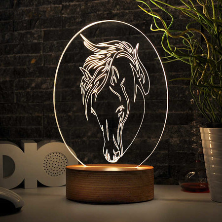 - Oval At Figürlü 3D Lamba