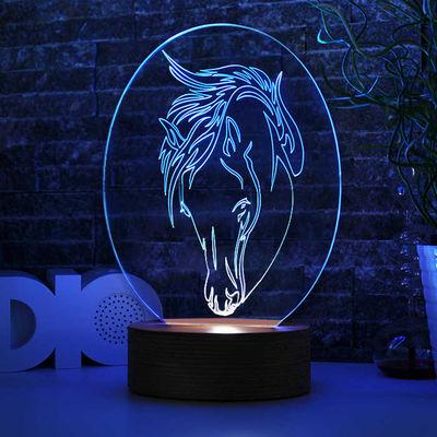 Oval At Figürlü 3D Lamba