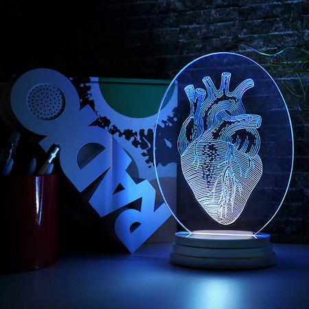 - Oval Kalp Figürlü Aydınlatma Lambası