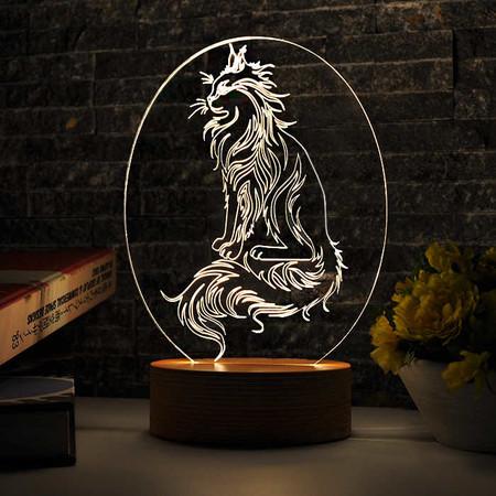 - Oval Kedi Figürlü 3D Lamba