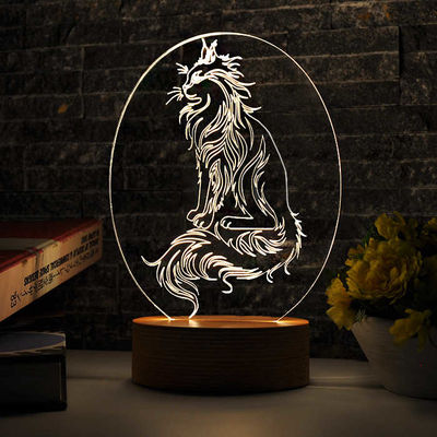 Oval Kedi Figürlü 3D Lamba