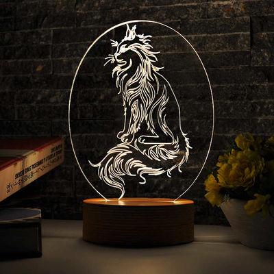 Oval Kedi Figürlü Aydınlatma Lambası