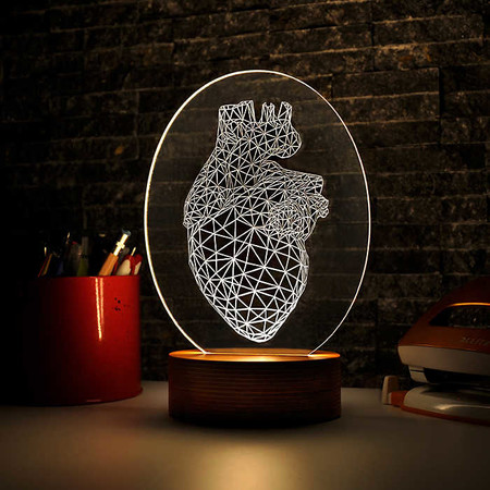 - Oval Vertex Kalp Figürlü 3D Lamba